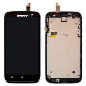 LCD (Дисплей) Lenovo A859 (в сборе с тачскрином) (в раме) (black) Оригинал